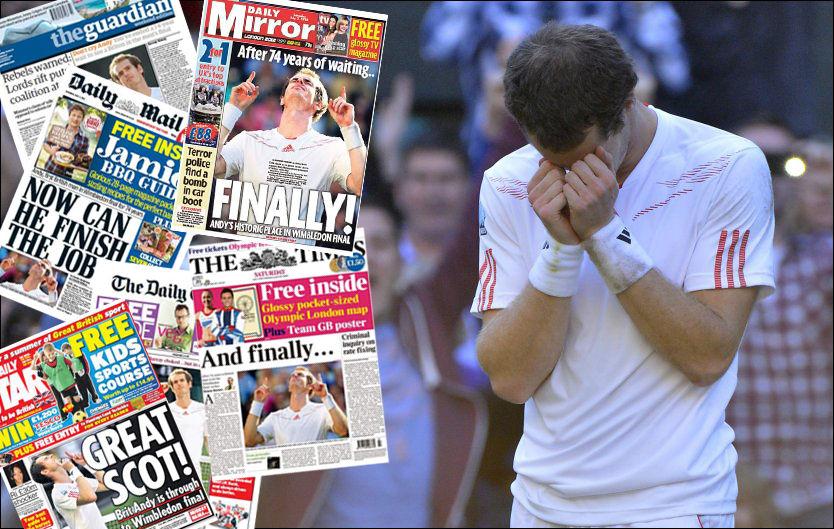 GLEDESTÅRER: Andy Murray klarte ikke holde tårene tilbake etter at han ble første brite til å nå herrefinalen i Wimbledon siden 1938. I dag ble han hyllet i britisk presse. Foto: Toby Melville, Reuters/Faksimile
