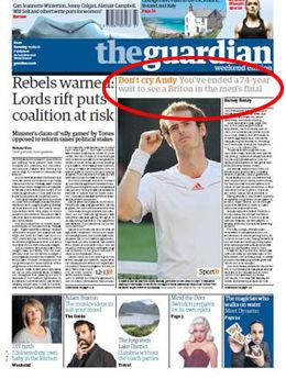 HYLLET: Et samlet britisk pressekorps hyllet i dag Andy Murray. Foto: Faksimile The Guardian