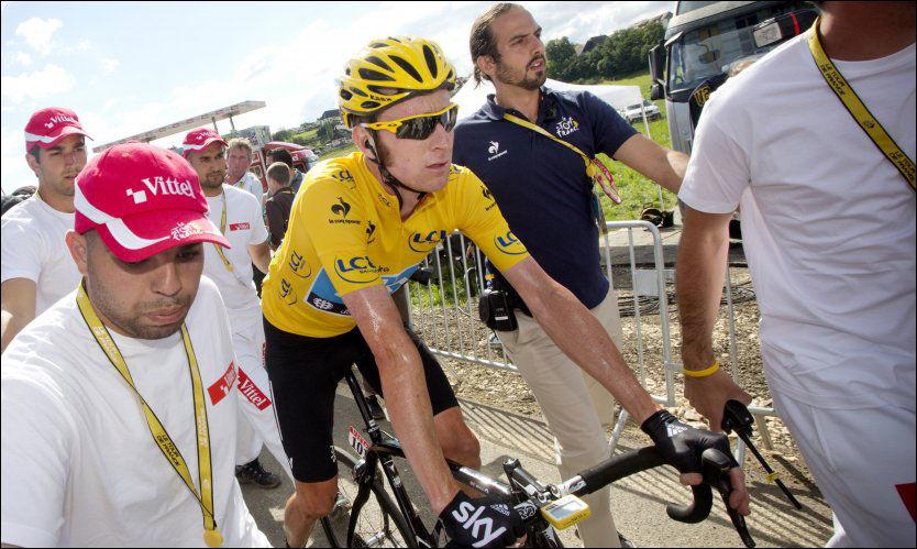IRRITERT: Bradley Wiggins, her like etter målgang i dag, liker dårlig anklager om dopingbruk fra anonyme nettbrukere. Foto: Scanpix/Daniel Sannum Lauten