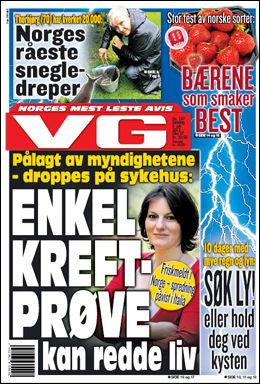 Faksimile: VG 8. juli 2012.
