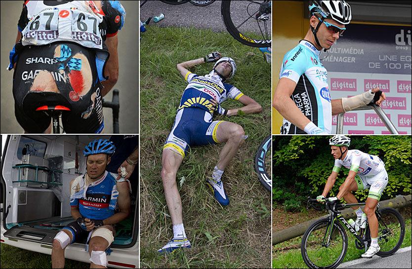 SMERTEHELVETE: Dette er noen av ritterne som har hatt en tung Tour til nå: Øverst til venstre: Johan Vansummeren etter massevelten fredag. Nede til venstre: Tom Danielson etter samme velt. Da hadde han allerede slitt med en skulder ut av ledd. I midten er Wout Poels, han befinner seg i dag på sykehus. Til høyre er Tony Martin med skinne på armen, og Brice Feiulle, som har vært syk. Foto: AFP, AP, Reuters og EPA