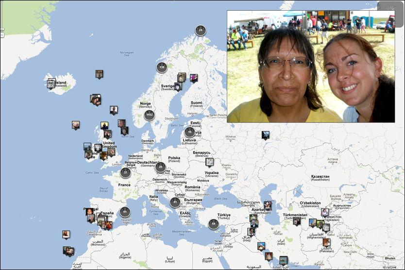 HVOR VAR DU? Veronica Dyreng fra Hamar (innfelt, til høyre) var sammen med Betty Black Crow i Pine Ridge-reservatet i South-Dakota da terrorangrepene fant sted. Hvor var du? Foto: Privat/min22juli.no