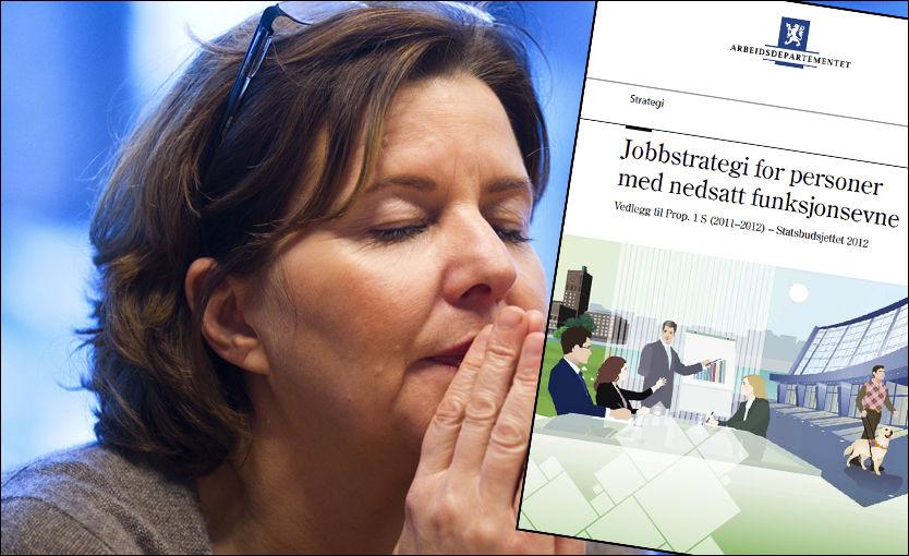 ET STYKKE IGJEN: Arbeidsminister Hanne Bjurstrøm styrer regjeringens satsning for å få flere funksjonshemmede ut i arbeidslivet. Men i eget departement har de så langt ikke lyktes med rekrutteringen. FOTO: JAN PETTER LYNAU / VG.
