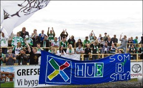 HUMOR: HamKam-supporterne med et tydelig signal til Ull/Kisa-spillerne. Foto: NTB scanpix