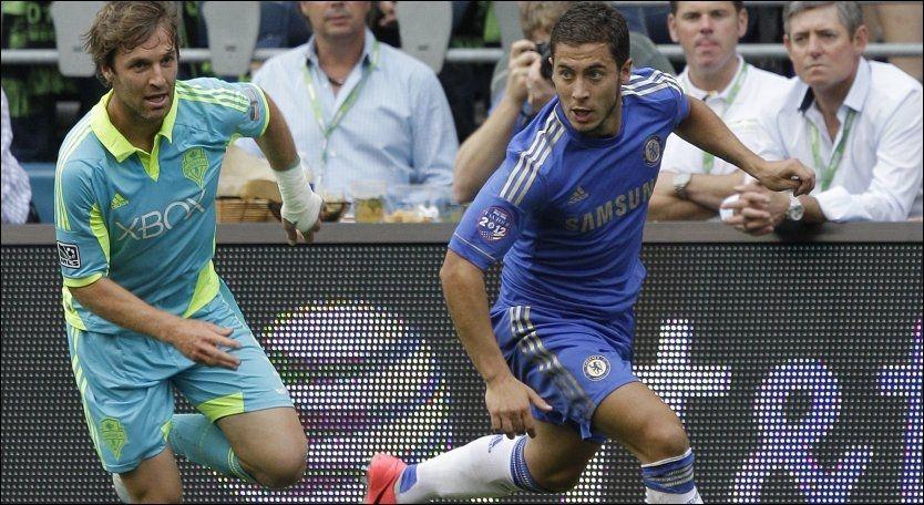 SCORET: Eden Hazard spilte fra start da Chelsea møtte Seattle Sounders natt til torsdag norsk tid. Foto: Ap/ Ted S. Warren