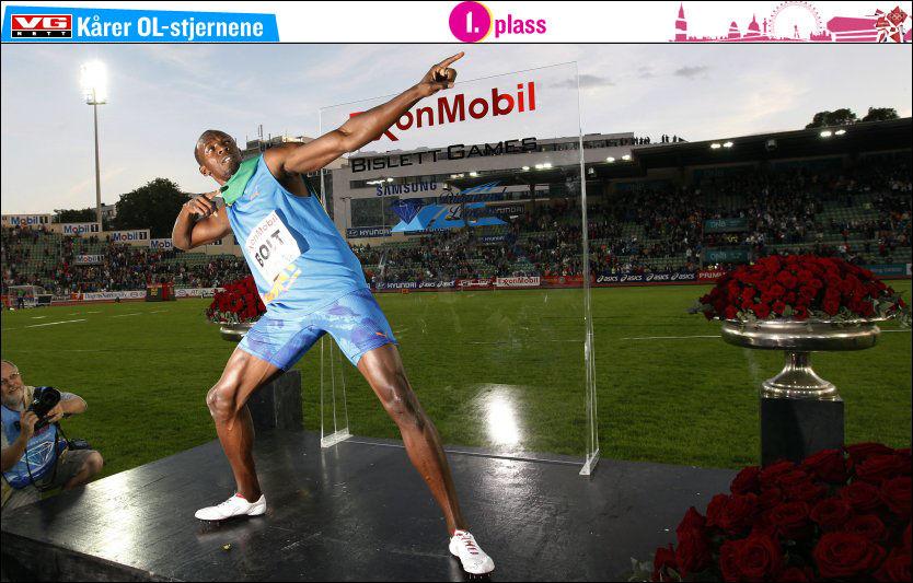 I KJENT STIL: Slik er vi vant til å se Usain Bolt på toppen av pallen og med sin velkjente feiring. Foto: Lise Åserud, NTB Scanpix
