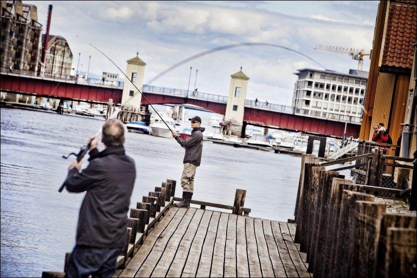 STANG UT: Krovert Herbert Klein (t.v.) og Kay-Arne Olsen prøver fiskelykken. Foto: ØYVIND NORDAHL NÆSS/VG