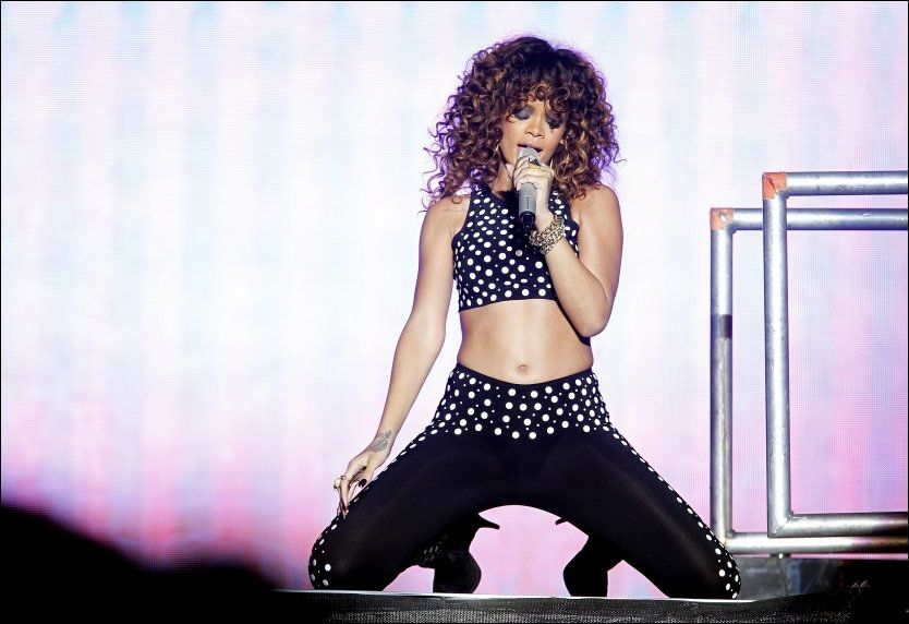 GLAD I NORGE: Her er Rihanna under konserten i Bergen i fjor. Foto. Hallgeir Vågenes.