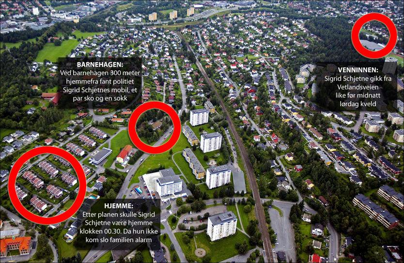 RUTEN HJEM: 16 år gamle Sigrid Giskegjerde Schjetne begynte å gå fra Vetlandsveien (oppe til høyre) og hadde SMS-kontakt med venninner underveis. Etter rundt 1,7 kilomter stopper sporene brått ved barnehagen (midten) - bare 300 meter hjemmefra (til venstre). Foto: Frode Hansen