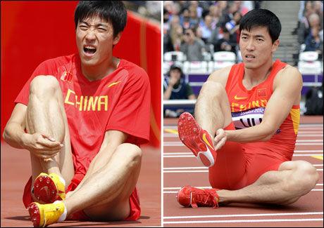 DA OG NÅ: Til venstre ses Liu Xiang i OL i Beijing. Til høyre ses han i London i dag. Begge ganger endte OL brått. Foto: AFP