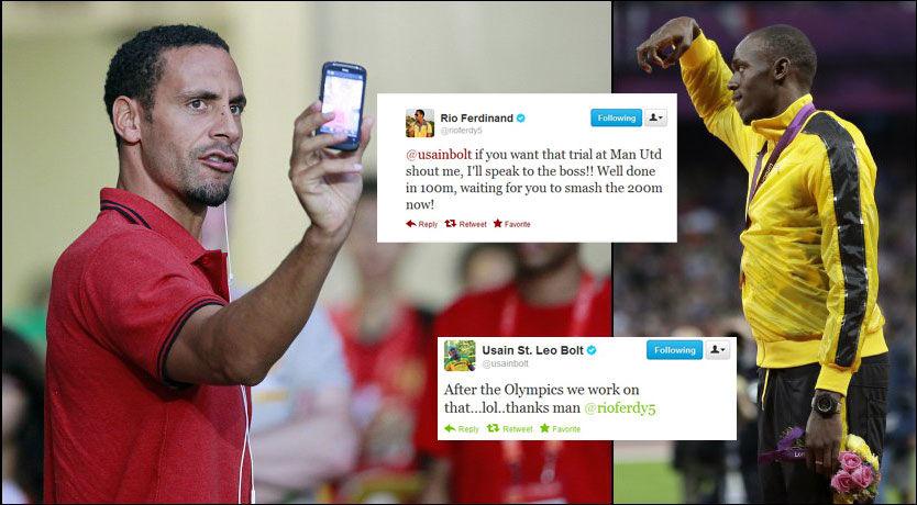 VELKOMMEN: Rio Ferdinand vil ha Usain Bolt på prøvespill i Manchester United. Foto: Euguene Hoshiko, Matt Slocum, AP