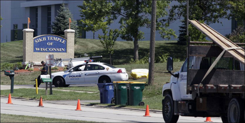 SKJØT SEG ETTER MASSAKREN: Mannen mistenkt for å stå bak skytingne i et sikhtempel døde av et skudd han selv skjøt etter å ha blitt skadet av politiets kuler. Foto: