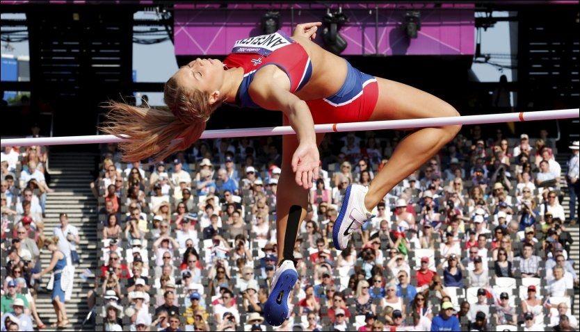 MISSET: Tonje Angelsen fikk det ikke til i kvalifiseringen og var langt fra OL-finale i høyde. Foto: Heiko Junge, NTB Scanpix
