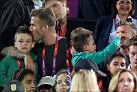 David Beckham tok med sønnene på volleyball-kamp