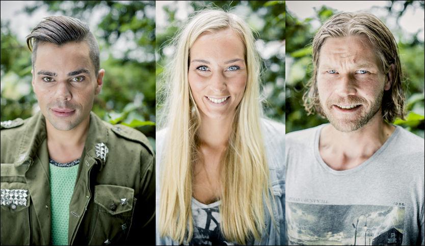 MED PÅ «FARMEN»: Jon Lundemoen, Kristina Myrseth og Tov Gunnar Trahaug Sollid skal alle være med på å kjempe på gården i Valdres. Foto: Krister Sørbø / VG