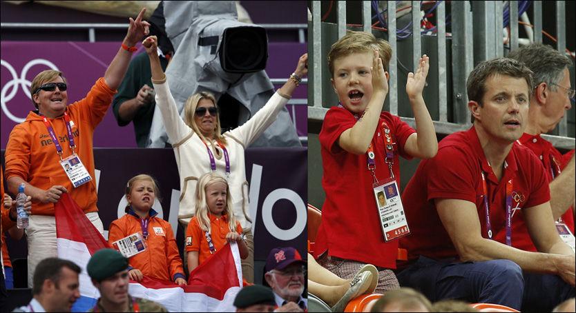 FAMILIETID: Prins Willem-Alexander og prinsesse Maxima har med prins Frisos døtre Luana og Zaria til OL, i tillegg til sine egne barn. Her er de på volleyballkamp, mens bildet til høyre er av danske kronprins Frederik og sønnen Christian på håndballkamp. Foto: Reuters / AP