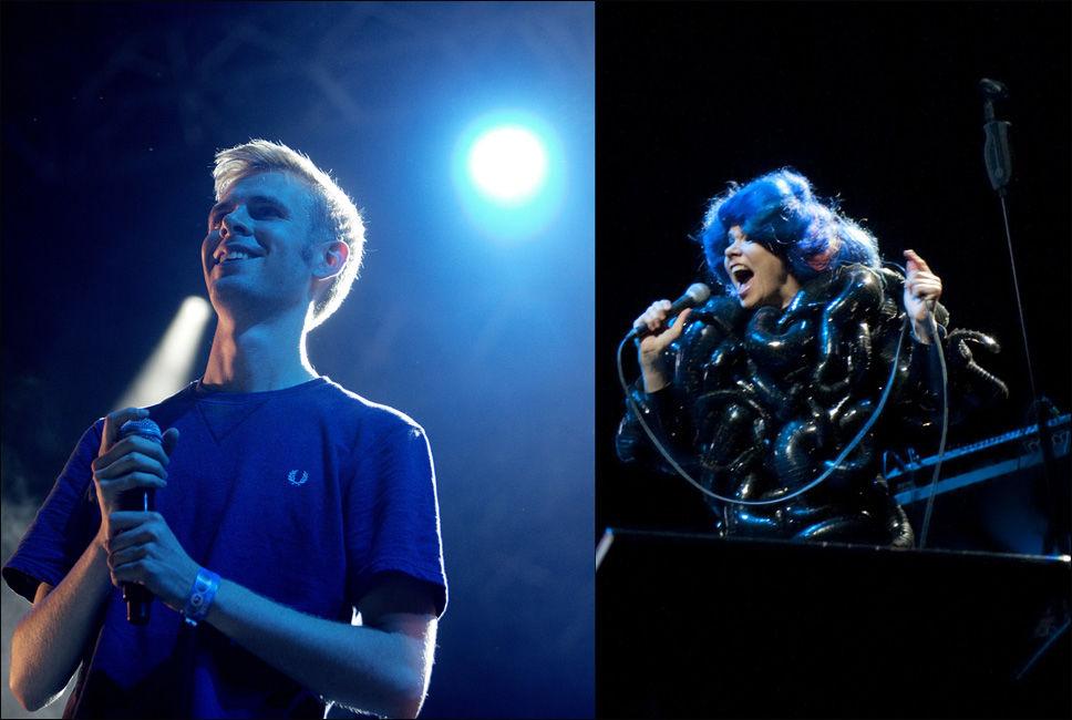 LYDKONKURRENTER: Lars Vaulars Øya-konsert bar preg av at bassen ble dempet så Björk skulle bli bedre hørt. Foto: Erik Moholdt / Øyafestivalen/Scanpix