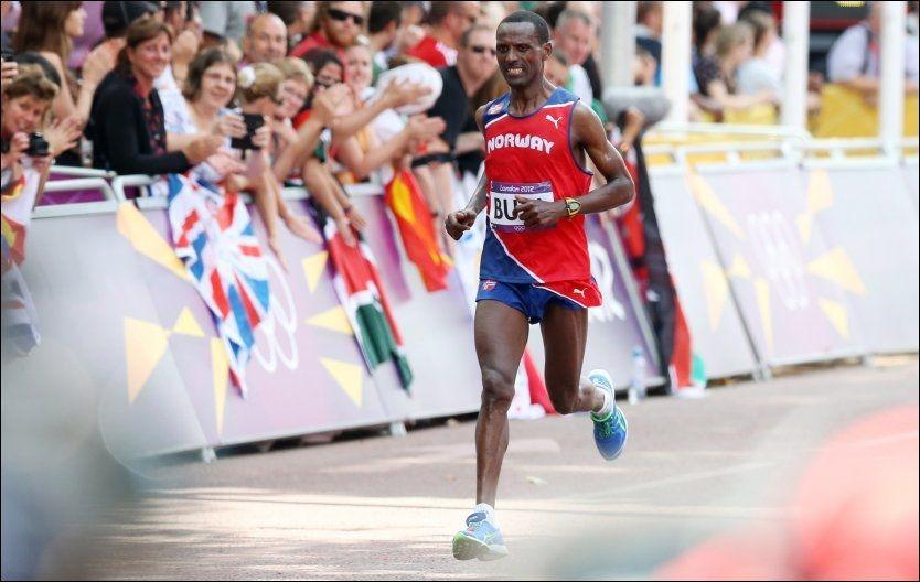 NUMMER 36: Maratonløperen Urige Buta var siste norske utøver i aksjon i London. Han ble nummer 36 på OLs avslutningsdag. Foto: Håkon Mosvold Larsen, NTB Scanpix
