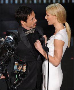 DRØMMEDAME: Gwyneth Paltrow gjør igjen rollen som «Pepper Potts» i de siste «Iron Man»-filmen. Her er hun sammen med jernmannen selv, skuespiller Robert Downey Jr. Foto: Afp