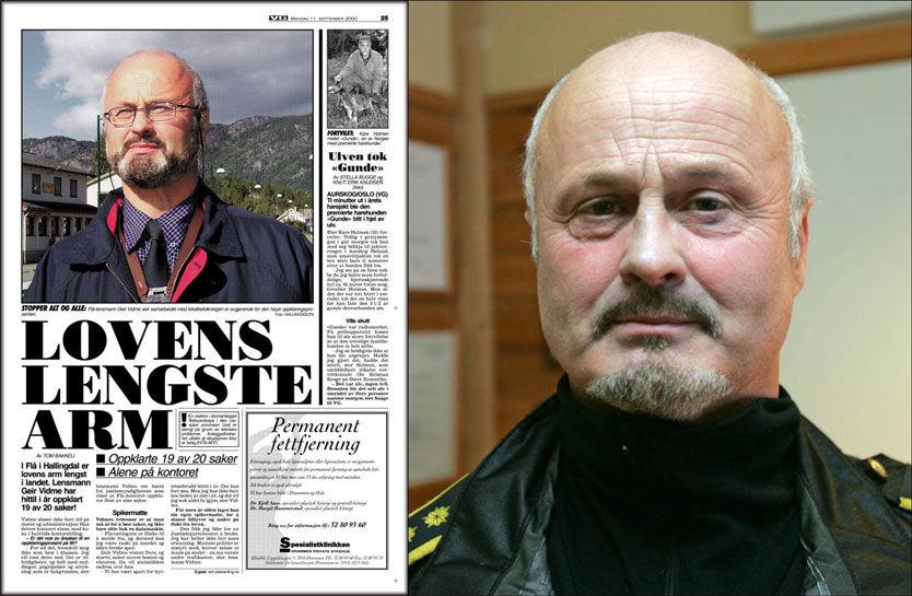 UTRADISJONELL: Lensmann Geir Vidme har gjennom 32 år markert seg som en annerledes politimann. I 2000 hadde han landets beste oppklaringsprosent. Foto: Scanpix og faksmile av VG 11. september 2000.