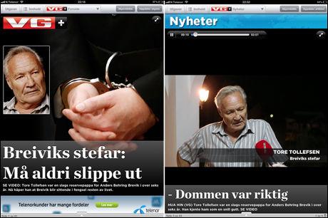 SNAKKER OM DOMMEN: Breiviks tidligere stefar Tore Tollefsen, snakker om dommen som falt fredag i dagens VG+. Foto: FAKSIMILE VG