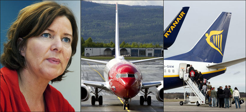 SKEPTISK: Arbeidsminister Hanne Bjurstrøm vil ikke navngi noen selskaper. Ifølge fagorganisasjonen Parat bør imidlertid både Norwegian og Ryanair føle seg truffet av ministerens uttalelser. Foto: VG/AFP