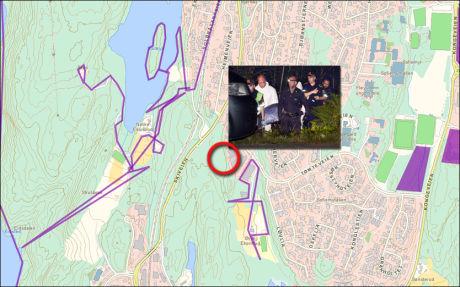SÅ NÆRT: De lilla områdene viser hvor letemannskaper selv har tegnet inn at de har gått. På det nærmeste har de tegnet inn at de var rundt femti meter unna funnstedet. Foto: Finnsigrid.no