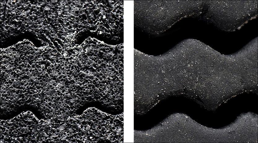 """""""MÅNELANDSKAP"""": Millioner av små luftporer skal ifølge Bridgesone gi bedre egenskaper på vinterføre. Til venstre gummiblandingen med svamp- eller månestruktur, vanlig til høyre. Foto: Produsent"""