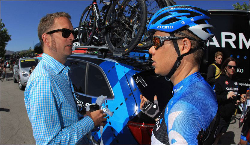 TO EKSDOPERE: Jonathan Vaughters (t.v.) er sjef i Garmin-laget, og har innrømmet dopingbruk som aktiv. I går avslørte han sin egen rytter, Tom Danielson (t.h.) som dopingmisbruker før han kom til Garmin. Her er de i mai i år. Foto: AFP