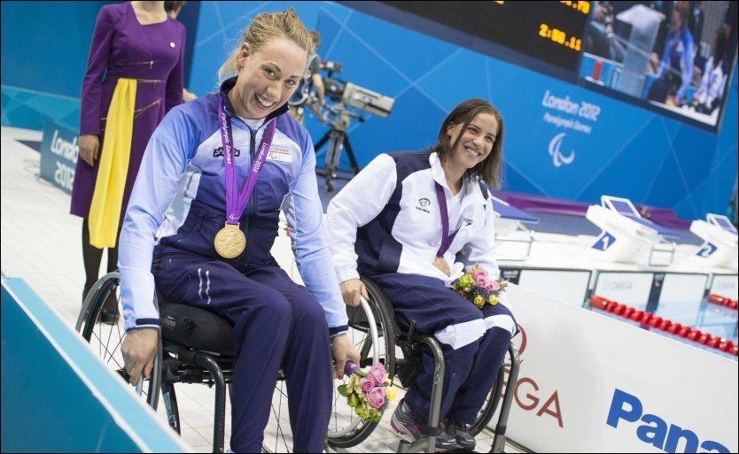 Sarah Louise Rung vant fredag sitt andre gull i Paralympics i London. Her fra da hun tok sitt første gull i mesterskapet, på 200 meter fristil. FOTO: FREDRIK SOLSTAD / VG
