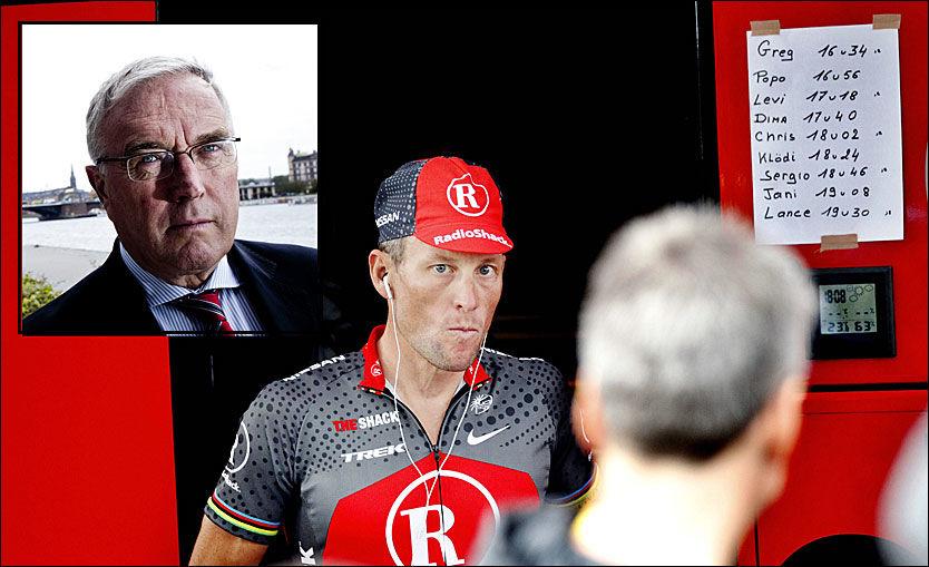 GODE VENNER: UCI, her ved president Pat McQuaid (innfelt) og Lance Armstrong har alltid hatt gode forbindelser. Foto: VG og AFP