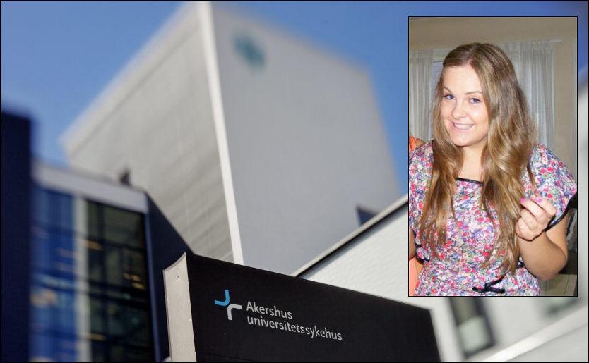 DØDE PÅ SYKEHUSET: Camilla Nymoen (20) døde etter en sykehustabbe på Ahus i september 2011. Nå får sykehuset refs fra Helsetilsynet. Foto: KRISTER SØRBØ, PRIVAT