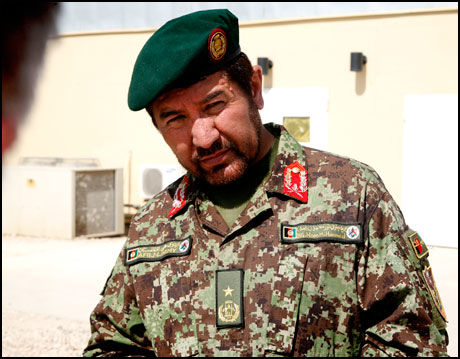 TROR PÅ FLERE ANGREP: Brigader Noor Mohammed Hamid, sjef 1. brigade i den afghanske hærens 209. korps. Foto: RUNE THOMAS EGE