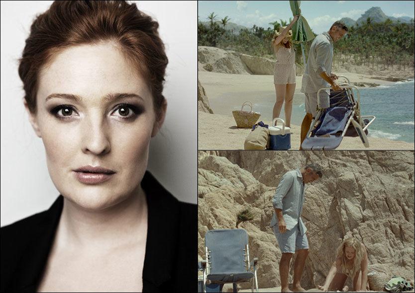 BRUNETTE: Julie Agnete Vang Christensen (28) er ikke like blond i virkeligheten lenger. Bildene til høyre er fra «bryllupsreisen» til Christensen og George Clooney - ikke på Bora Bora, men i Costa Rica. Foto: Privat og DNB