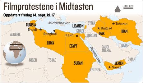 URO: Flere protester pågår fredag ettermiddag i Midtøsten.