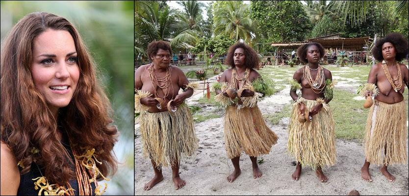 TRADISJONELL HILSEN: Hertuginne Kate var selv iført sort, knesid kjole for anledningen, mens kvinnene på Salomonøyene hadde bare overkropper da de sang og danset for de kongelige gjestene. Foto: Getty Images