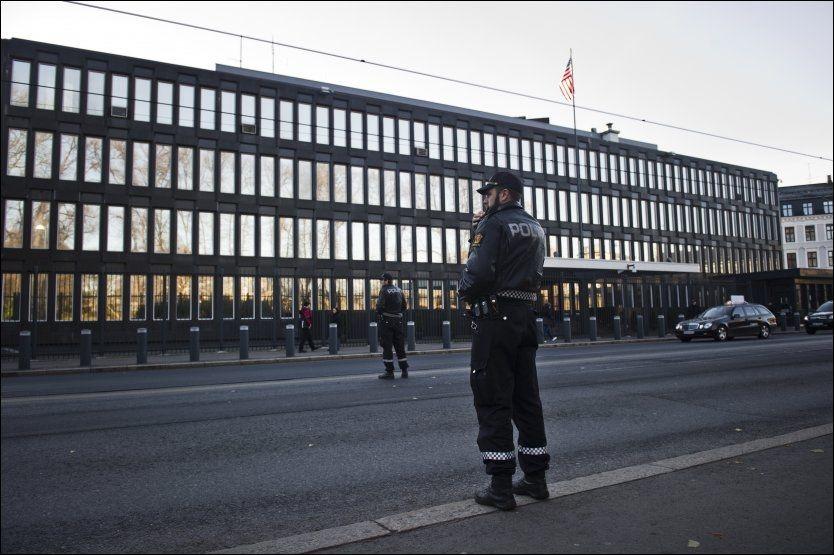 VIL DEMONSTRERE HER: En gruppe radikale muslimer ønsker fredag å demonstrere foran den amerikanske ambassaden i Oslo. Foto: NTB Scanpix