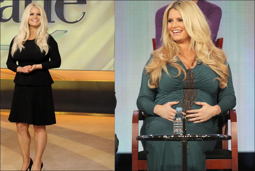 FØR OG ETTER: Jessica Simpson strålte i en trang, sort kjole hos TV-vertinne Katie Couric forrige uke. På bildet til høyre er hun høygravid med sin første datter. Foto: Wenn.com