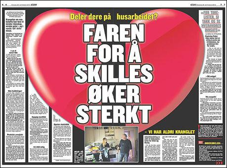 FØRER TIL SKILSMISSE: Faksimile av dagens sak i VG.
