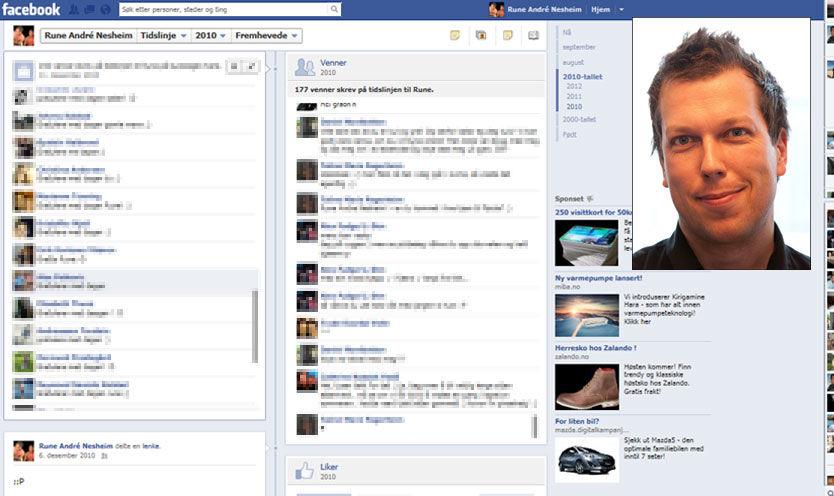 FULL FORVIRRING: Facebook-brukere har de siste dagene oppdaget at gamle «vegg-til-vegg»-meldinger ligger på tidslinjen. Øyvind Solstad, VGs ansvarlige for sosiale medier (innrammet), mener det ikke er private meldinger. Foto: SKJERMDUMP/ EIRIK SOLHEIM
