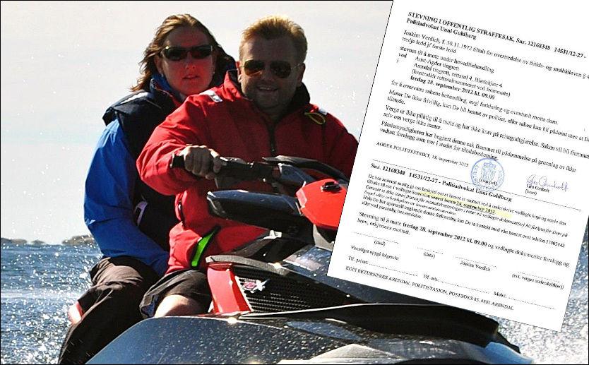 KJØRTE PÅ: Joakim Verdich nektet å vedta et forelegg på 5000 kroner for vannskuterkjøring. Det førte til straffesak. Her på skuteren sammen med kjæresten. Foto: Geir Rognlien Elgvin
