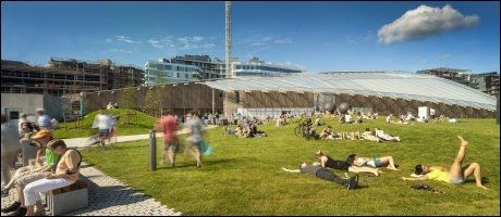 TJUVHOLMEN: Oslos nye, sjønære bydel tar form. Nyåpnede Astrup Fearnley-museet i bakgrunnen, tett knyttet til det nye The Thief-hotellet. Foto: Renzo Piano