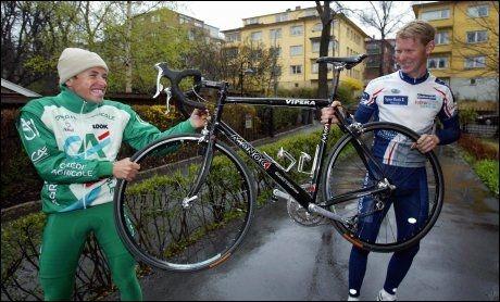 I PROSJEKTET: Mads Kaggestad og Gabriel Rasch før Ringerike Grand Prix i 2003. Sammen deltok de i WADAs antidopingprosjekt seks år tidligere da begge var på vei opp og frem som syklister. Foto: NTB Scanpix
