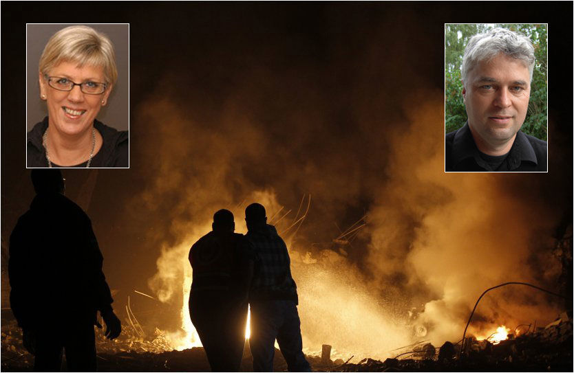 FLAMMER: Palestinere prøver å unngå flammene etter en av rakettene som traff Gaza onsdag. Innfelt: Hilde Henriksen Waage og Dag Henrik Tuastad. Foto: Mohammed Abed, AP, NTB scanpix, PRIO, UIO
