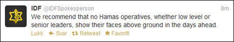 TWITRER: Den israelske hæren kom med sterke advarsler på Twitter onsdag kveld. Skjermdump: Twitter