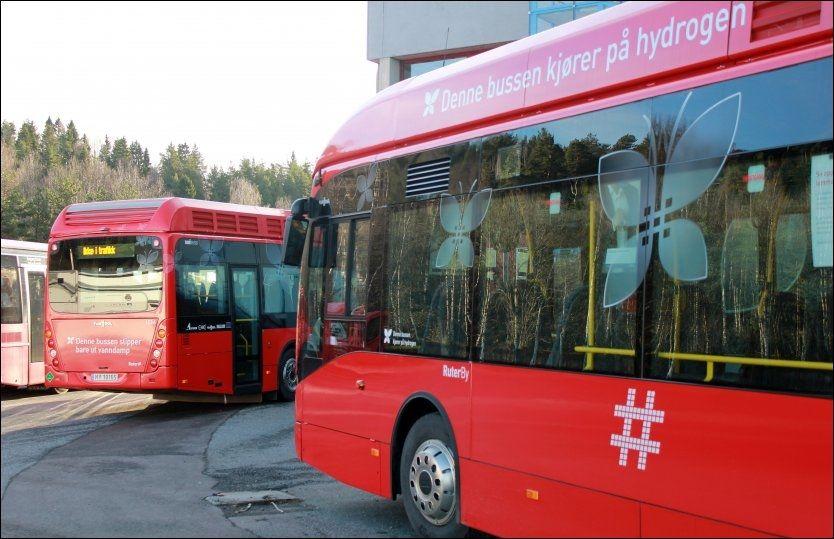 IKKE I RUTE: Ruters hydrogenbusser står mesteparten av tiden parkert på Rosenholm. Foto: Geir Arne Kippernes