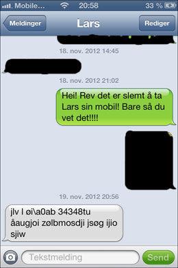 MIKKEL REV SATT OG SKREV:...på en touchscreen? Denne meldingen fikk en venn av Lars nesten et døgn etter at telefonen forsvant. Foto: Skjermdump