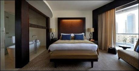 LUKSUS: Slik ser noen av rommene ut på det som er stemt frem som verdens beste hotell, The Address Downtown Dubai. Foto: The Address Downtown Dubai