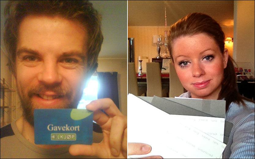 PENGER TIL GODE: Eirik Furu og Tina Harlem har begge gavekort for store beløp liggende ubrukt hjemme. Foto: PRIVAT