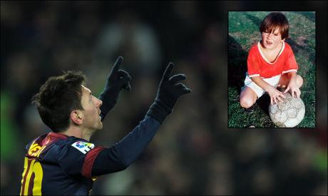 FORTSATT LIKE UTROLIG: Lionel Messi imponerte stort som fireåring (innfelt bilde), og fortsetter å imponere fotballverden for hver dag som går. Foto: Afp/Privat